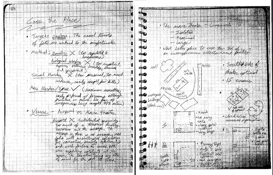 This screenshot made from a pdf released by the Colorado Judicial Department on Wed., May 27, 2015, shows a portion of Aurora shooter James Holmes' notebook, after it was presented as evidence in the Holmes murder trial on Tues., May 26, 2015, in Centennial, Colo. The notebook entries on these two pages discuss the pros and cons of various methods and venues for committing mass murder and, at right, is a diagram of the theater in Aurora where Holmes carried out the killings. The notebook was released into public domain as per court procedure. (Colorado Judicial Department via AP Photos)