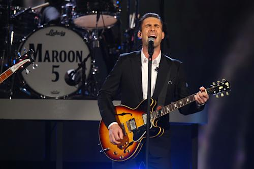Adam Levine, of the musical group Maroon 5, performs at the night that changed America: a Grammy salute to the Beatles, on Monday, Jan. 27, 2014, in Los Angeles. (Photo by Zach Cordner/Invision/AP)