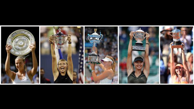 Kombinasi foto menunjukkan petenis Rusia, Maria Sharapova mengangkat sejumlah trofi Wimbledon 2004, AS Terbuka 2006, Australia Terbuka 2008, Prancis Terbuka 2012 dan Prancis Terbuka 2014. (AFP Photo)