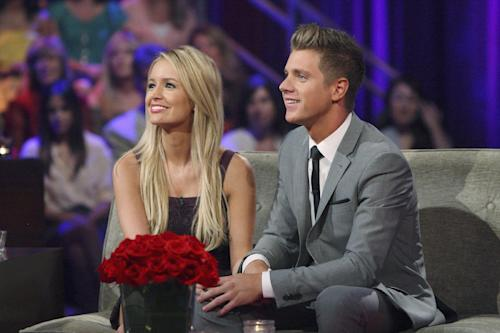 "FILE - This July 22, 2012 publicity file photo released by ABC shows Emily Maynard, left, and Jef Holm on ""The Bachelorette: After the Final Rose,"" during a live broadcast in the Hollywood section of Los Angeles. Maynard's second turn as part of ABC's ""Bachelor'/'Bachelorette"" franchise has ended with a broken engagement. Maynard and Holm have confirmed they have ended their relationship as reported by People magazine on Oct. 16, 2012. (AP Photo/ABC, Rick Rowell, File)"