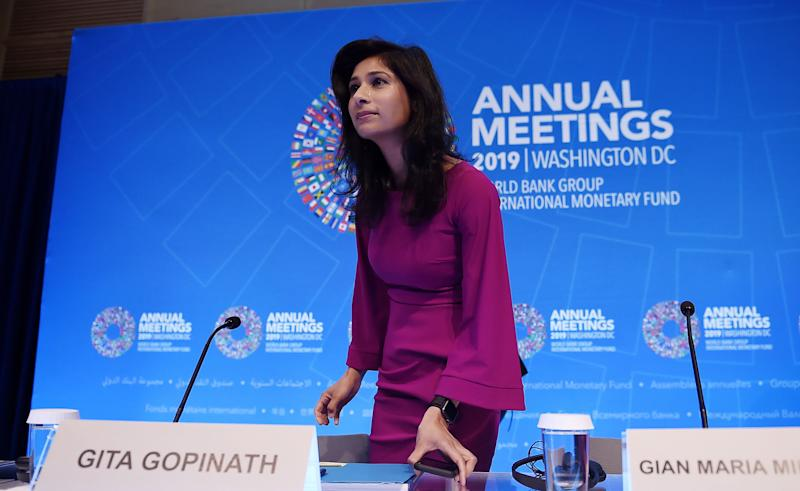 Gita Gopinath arrives for a briefing during the IMF and World Bank Fall Meetings in Washington, D.C. on Oct. 15, 2019. | Olivier Douliery—AFP/Getty Images