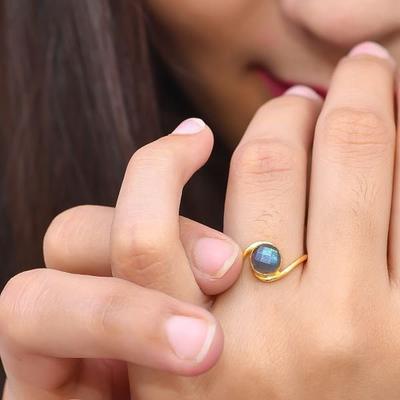 Dainty Ring Gold Plated Ring Sterling Silver Ring Handmade Ring Labradorite Ring Stacking Ring Statement Ring Round Labradorite Ring