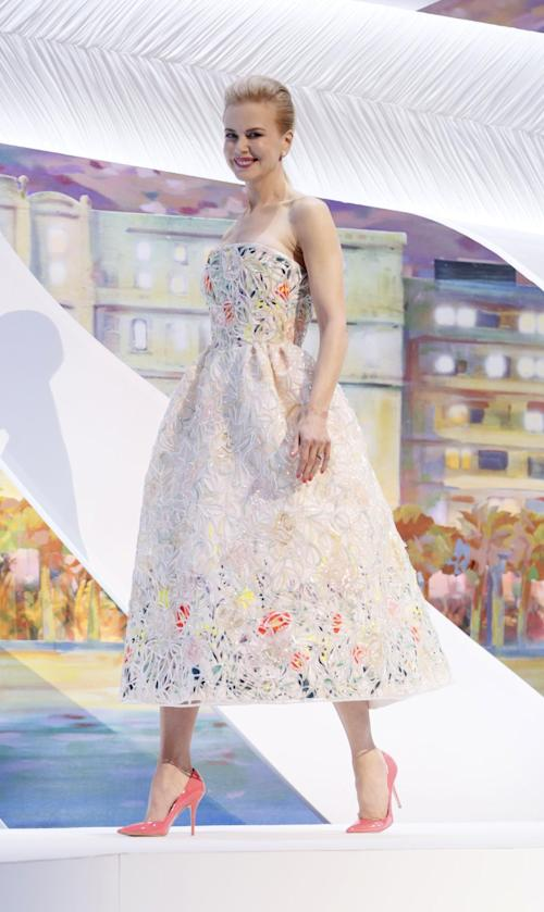 FILE - This May 15, 2013 file photo shows actor and jury member Nicole Kidman wearing a white-ground floral dress by Christian Dior Couture during the opening ceremony for the 66th international film festival, in Cannes, southern France. (Photo by Todd Williamson/Invision/AP, file)