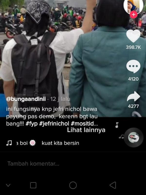 Momen Jefri Nichol Ikut Demo (Sumber:TikTok/bunggadn)