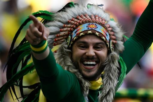Many Brazilians elected to watch on giant screens at home but thousands made the trip to Russia, including this one enjoying the win over Costa Rica in Saint Petersburg