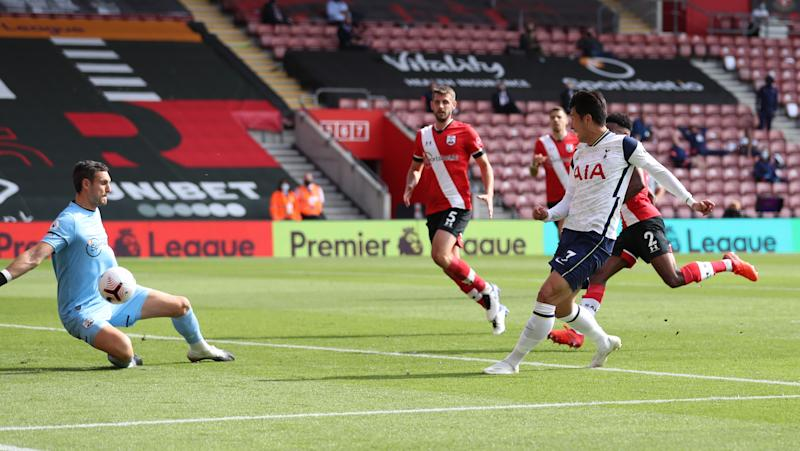 Soccer Football - Premier League - Southampton v Tottenham Hotspur - St Mary's Stadium, Southampton, Britain - September 20, 2020 Tottenham Hotspur's Son Heung-min scores their fourth goal Pool via REUTERS/Catherine Ivill EDITORIAL USE ONLY. No use with unauthorized audio, video, data, fixture lists, club/league logos or 'live' services. Online in-match use limited to 75 images, no video emulation. No use in betting, games or single club/league/player publications. Please contact your account representative for further details.