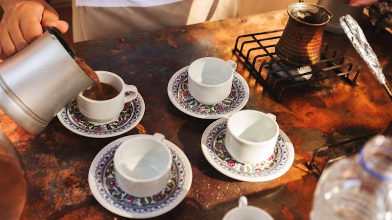 The process of making Turkish coffee