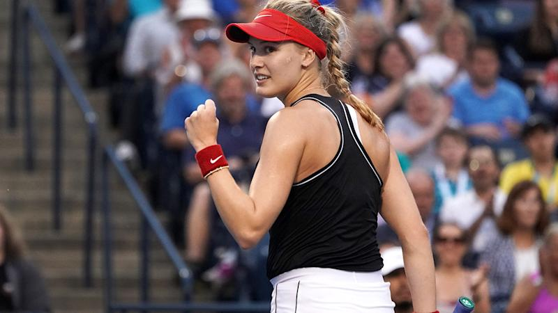 Eugenie Bouchard, pictured here playing at the Rogers Cup in Canada.