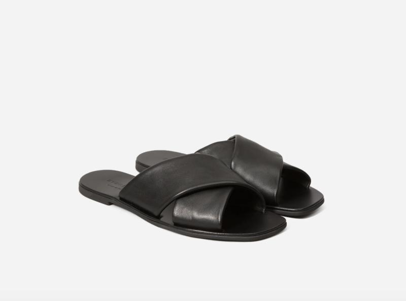 The Day Crossover Sandal in Black. Image via Everlane.