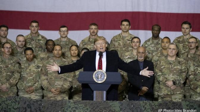 Presiden AS Donald Trump di Bagram Air Base, Afghanistan, Kamis 28 November 2019 (Alex Brandon / AP PHOTO)