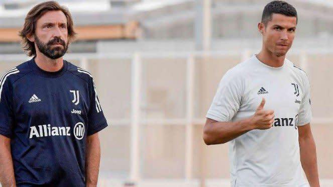 Pelatih Juventus, Andrea Pirlo dan Cristiano Ronaldo