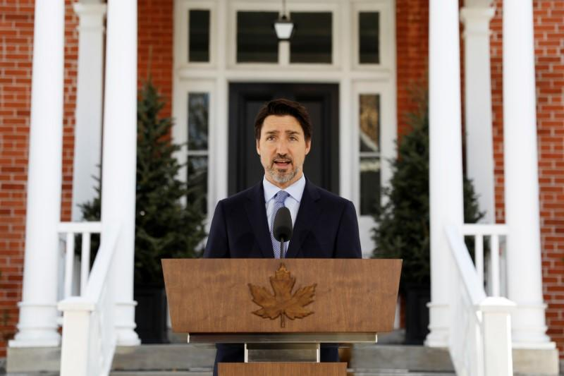 Canada's Prime Minister Justin Trudeau attends a news conference at Rideau Cottage in Ottawa