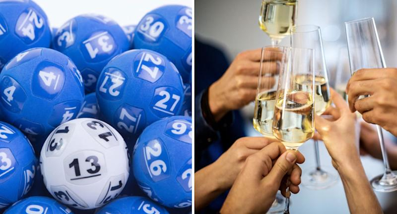 The Lott has revealed the $100 million Powerball numbers. Powerball balls and champagne glassed pictured.
