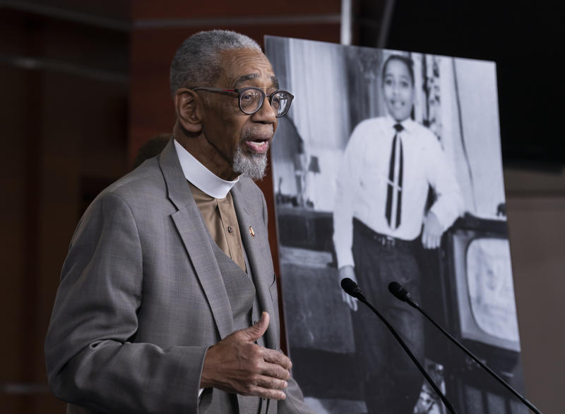 """Rep. Bobby Rush, D-Ill., speaks during a news conference about the """"Emmett Till Antilynching Act"""" which would designate lynching as a hate crime under federal law, on Capitol Hill in Washington, Wednesday, Feb. 26, 2020. Emmett Till, pictured at right, was a 14-year-old African-American who was lynched in Mississippi in 1955, after being accused of offending a white woman in her family's grocery store. (AP Photo/J. Scott Applewhite)"""