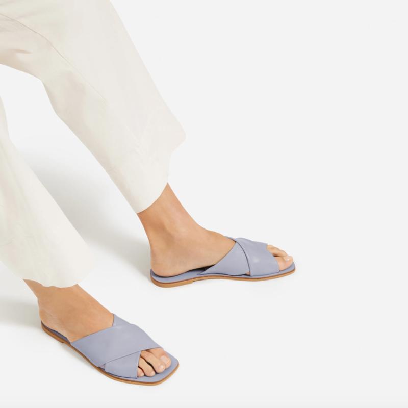 The Day Crossover Sandal in Light Blue. Image via Everlane.