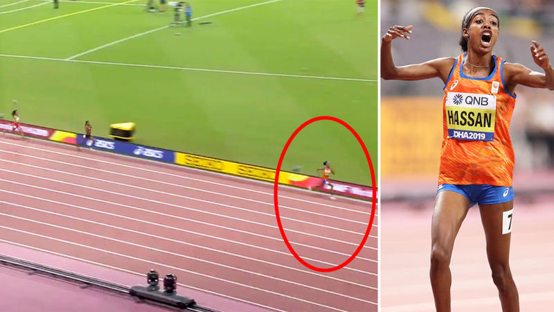 Sifan Hassan, pictured here completing the 1500-10,000m double at the world athletics championships.