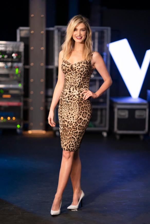 Delta Goodrem was dressed to impress on Channel Nine show The Voice last night in this designer Dolce & Gabbana leopard print dress