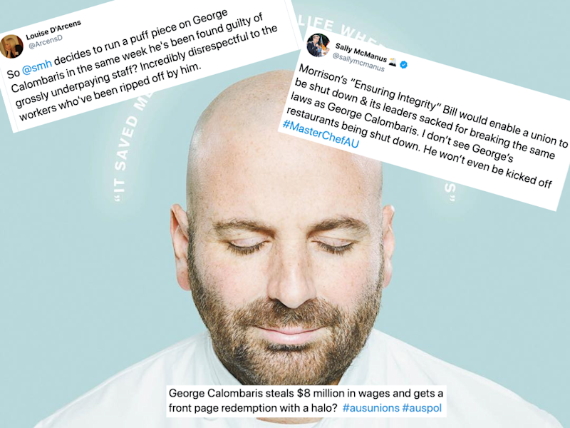 Good Weekend has run a magazine feature featuring George Calombaris' portrait on the front cover, drawing the ire of Twitter users.