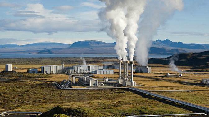 Ilustrasi pembangkit listrik panas bumi