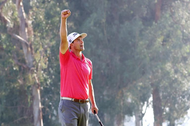Australia's Adam Scott celebrates his two-shot victory at the Genesis Invitational, capped by a par at the 18th hole at Riviera Country Club
