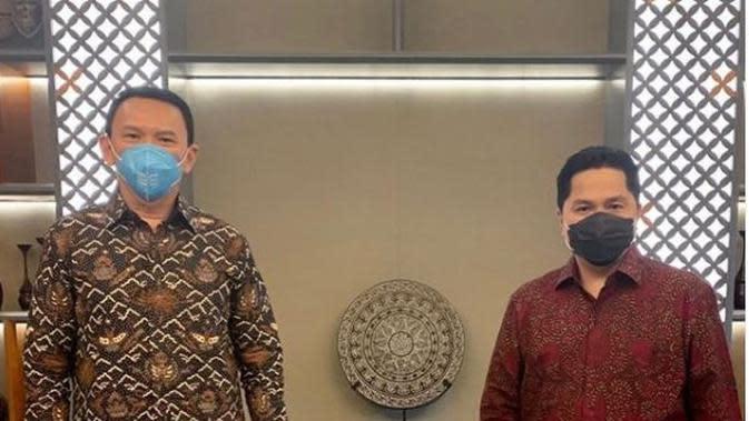 Komisaris Utama PT Pertamina (Persero) Basuki Tjahaja Purnama akhirnya melakukan pertemuan dengan Menteri Badan Usaha Milik Negara (BUMN) Erick Thohir. Instagram @basukibtp