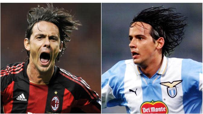 6. Inzaghi - Sama-sama dicap sebagai Legenda klub, namun mantan penyerang Lazio, Simone tampaknya kalah prestasi jika dibandingkan raihan sang kakak Filippo Inzaghi yang sudah meraih banyak gelar bersama AC Milan. (AFP)