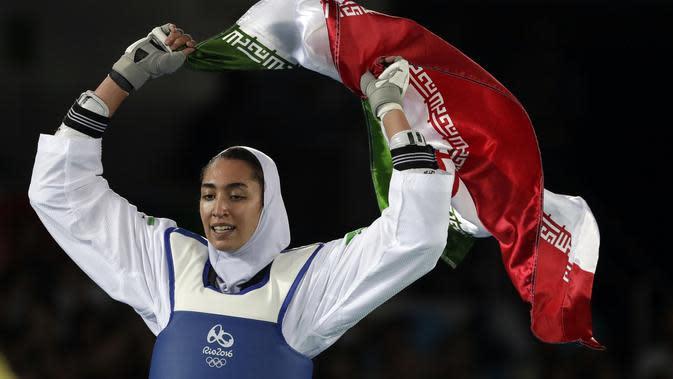 Kimia Alizadeh, atlet wanita asal Iran pertama yang meraih medali di ajang Olimpiade. (AP Photo/Andrew Medichini, File)