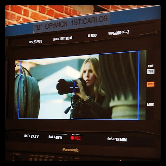 We're back in action, and here's your proof: @IMKristenBell on a stakeout, Ron style. #VeronicaMarsMovie