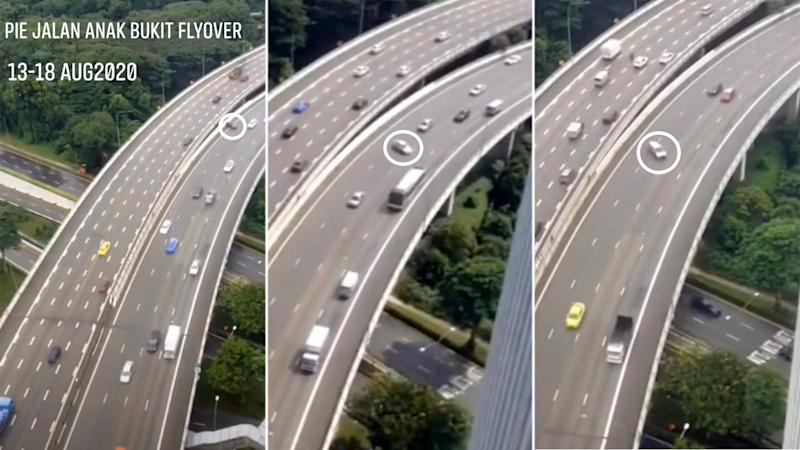 Screengrabs from the video showing cars skidding along a stretch of the PIE at Jalan Anak Bukit.