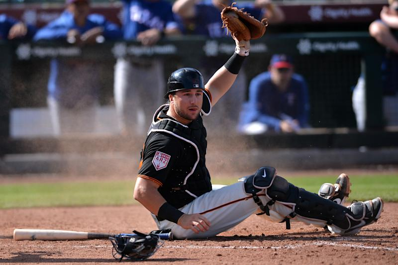 San Francisco Giants catcher prospect Joey Bart is one the top names to watch in the Arizona Fall League. (Orlando Ramirez-USA TODAY Sports)