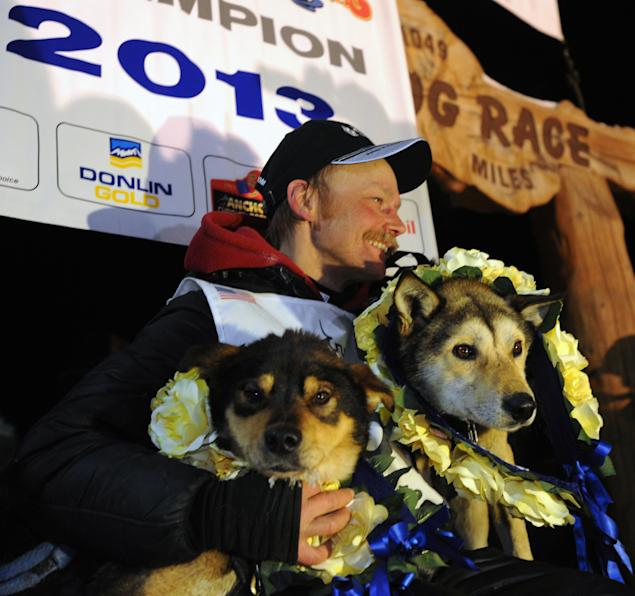 Mitch Seavey became the oldest winner and a two-time Iditarod champion when he drove his dog team under the burled arch in Nome on Tuesday evening, March 12, 2013.  Leaders Tanner, left, and Taurus are photographed with Mitch Seavey after wining the dog race. (AP Photo/The Anchorage Daily News, Bill Roth)  LOCAL TV OUT (KTUU-TV, KTVA-TV) LOCAL PRINT OUT (THE ANCHORAGE PRESS, THE ALASKA DISPATCH)