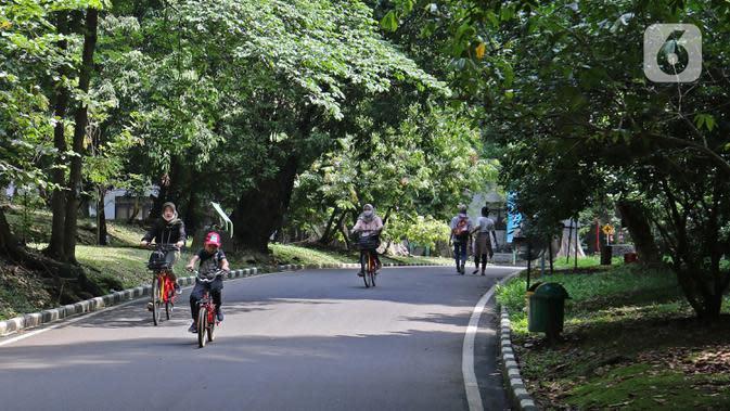Kebun Raya Bogor Kembali Dibuka: Pengunjung bersepeda di Kebun Raya Bogor, Jawa Barat, Selasa (7/7/2020). Kebun Raya Bogor menerapkan pemesanan tiket secara daring serta kapasitas pengunjung dibatasi hanya 50 persen. (Liputan6.com/Herman Zakharia)