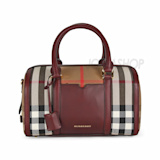 Burberry Medium Sartorial House Check Bowling Bag - Deep Claret