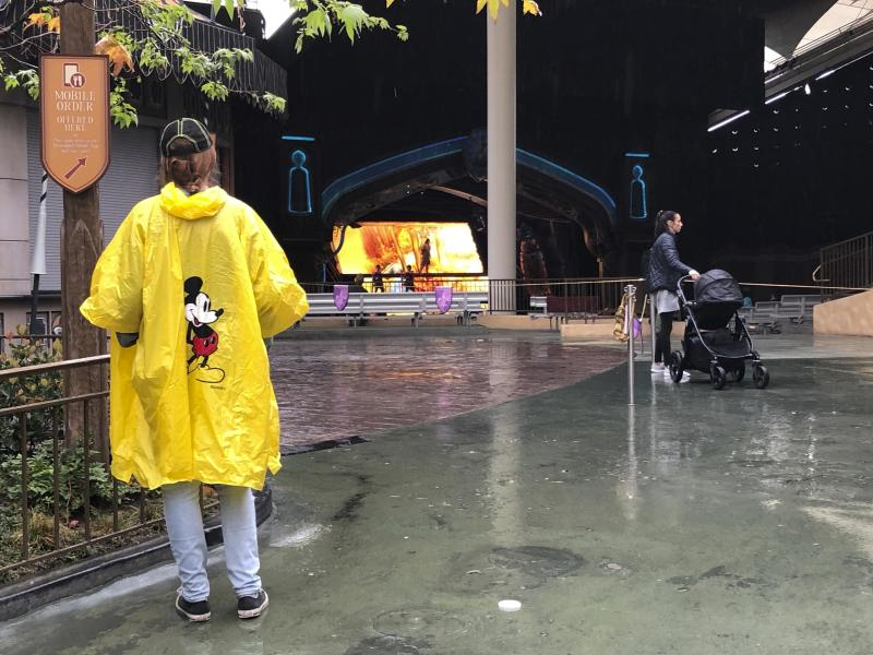 A few visitors stand in the rain at Disneyland in Anaheim, Calif., Friday, March 13, 2020. Disneyland is closing its doors for the rest of the month, shuttering one of California's best-known attractions as the state hurries to stop the spread of the coronavirus. (AP Photo/Amy Taxin)