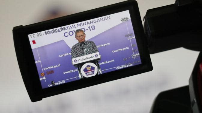 Juru Bicara Pemerintah Untuk Penanganan COVID-19, Achmad Yurianto pada konferensi pers update Corona di Graha BNPB, Jakarta, Rabu (23/4/2020). (Dok Badan Nasional Penanggulangan Bencana/BNPB)