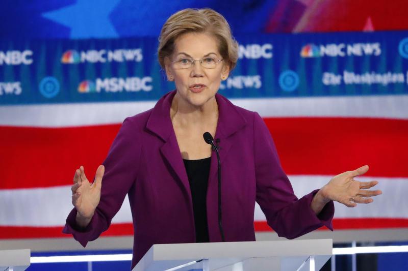 In this Nov. 20, 2019, photo, Democratic presidential candidate Sen. Elizabeth Warren, D-Mass., speaks during a Democratic presidential primary debate in Atlanta. (AP Photo/John Bazemore)