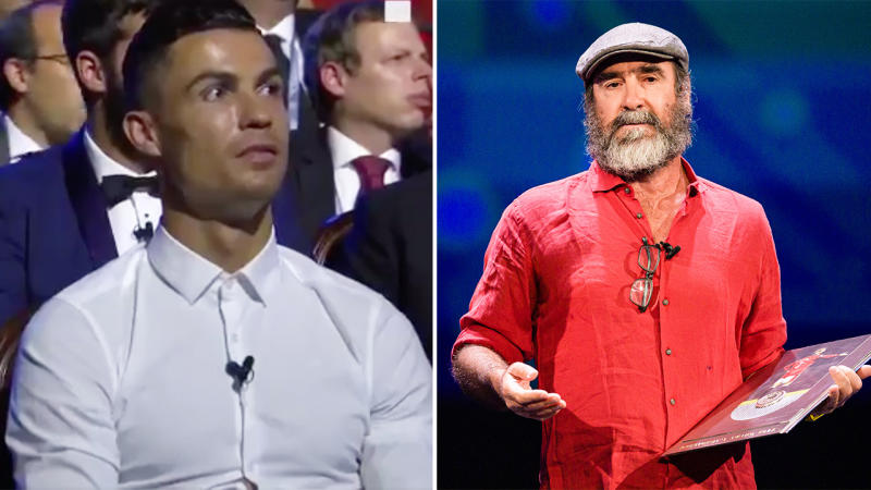 Ronaldo looks on as former footballer Eric Cantona speaks after awarded during the Kick-Off 2019/2020 - UEFA Champions League Draw on August 29, 2019 in Monaco, Monaco. (Photo by Eurasia Sport Images/Getty Images)