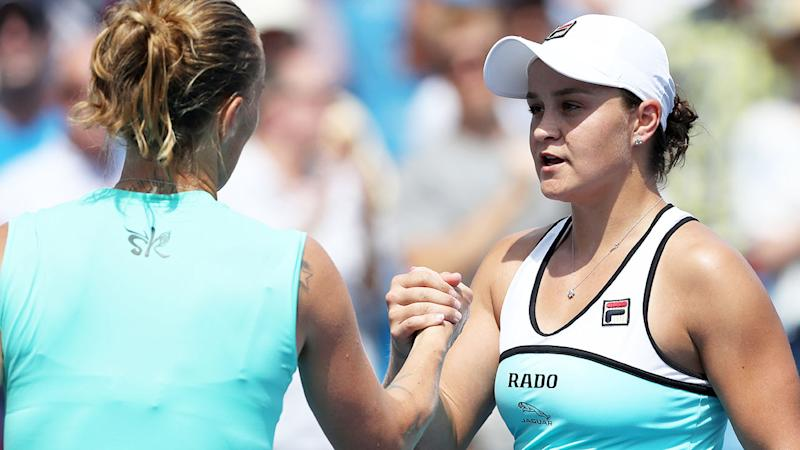 Ash Barty, pictured here congratulating Svetlana Kuznetsova. (Photo by Rob Carr/Getty Images)