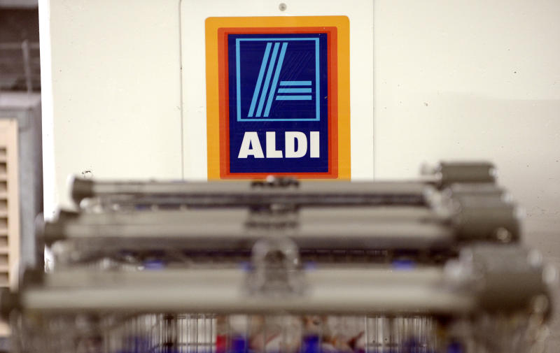 Aldi supermarket shopping trollies at a car park in a Westfield shopping centre in Brisbane, Monday, Oct. 21, 2013. (AAP Image/Dan Peled) NO ARCHIVING