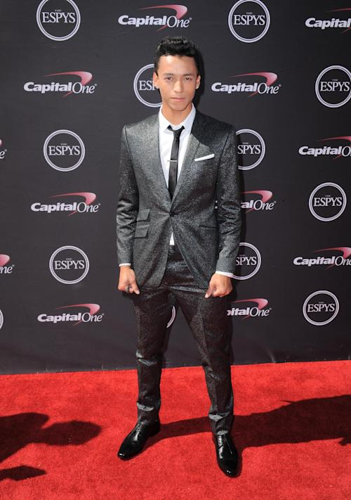 Professional skateboarder Nyjah Huston arrives at the ESPY Awards on Wednesday, July 17, 2013, at the Nokia Theater in Los Angeles. (Photo by Jordan Strauss/Invision/AP)