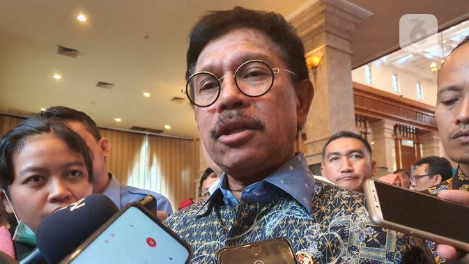Menkominfo Johnny G. Plate saat ditemui di acara Gerakan Menuju 100 Smart City di Jakarta, Rabu (6/11/2019). (Liputan6.com/ Agustin Setyo Wardani)