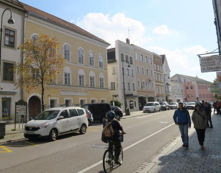 The house in which Adolf Hitler was born is seen in Braunau am Inn