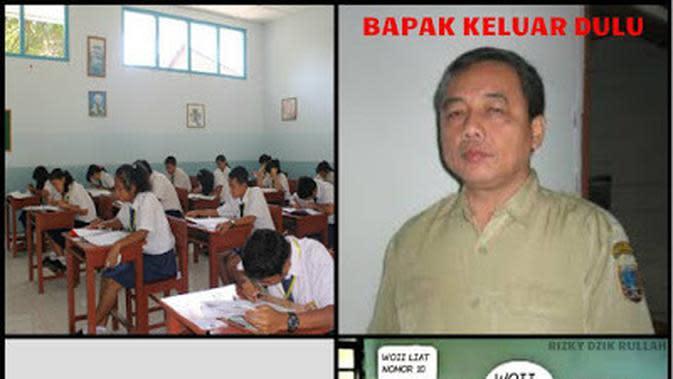 Meme Kocak Saat Nyontek Waktu Ulangan Ini Bikin Kangen Sekolah (sumber: memegenerator.net)