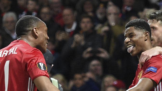Performa duo Manchester United (MU) Anthony Martial dan Marcus Rashford menurun. (AFP/Oli Scarff)
