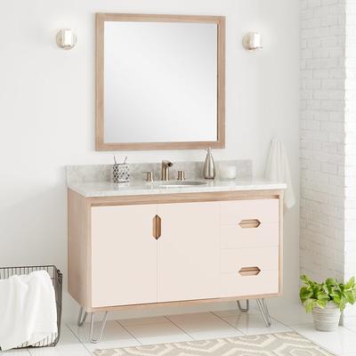 Signature Hardware 447305 Millie 48 Teak Wood Single Vanity Cabinet Choose Your Vanity Top And Sink Configuration Blush Whitewash Bathroom Yahoo Shopping