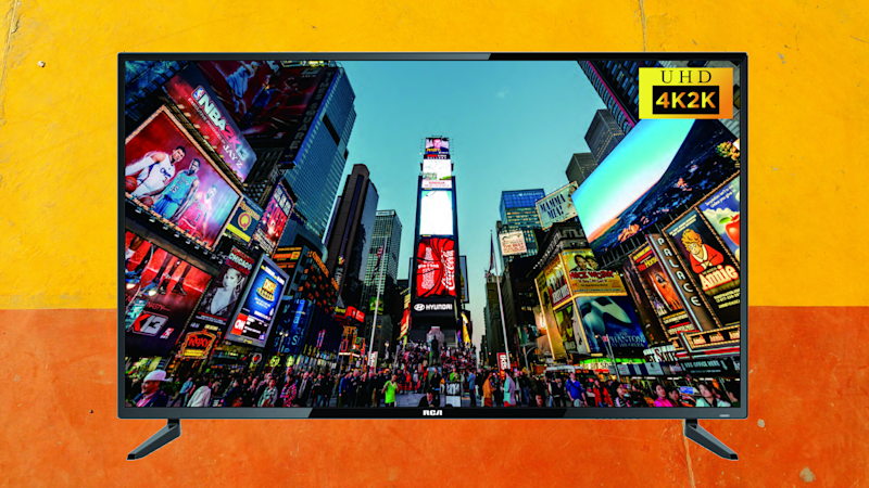 RCA 4K TV on yellow and orange background. (Photo: Walmart)