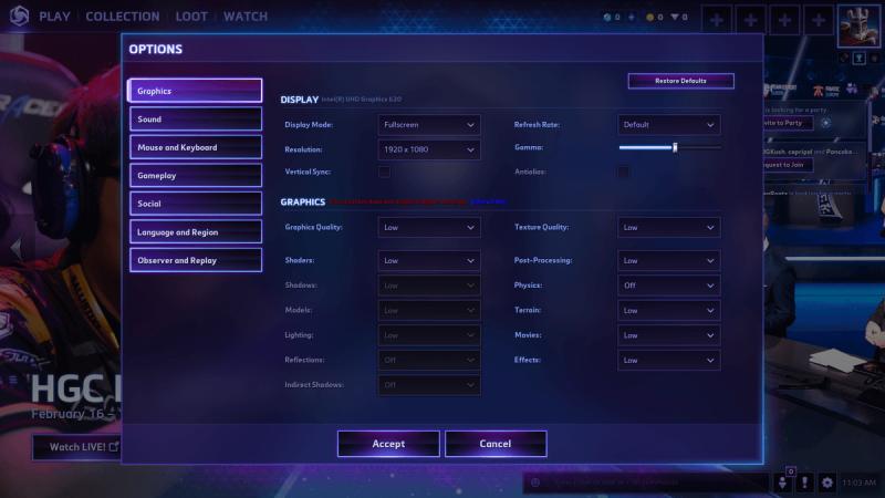 Heroes of the Storm   Graphics settings menu