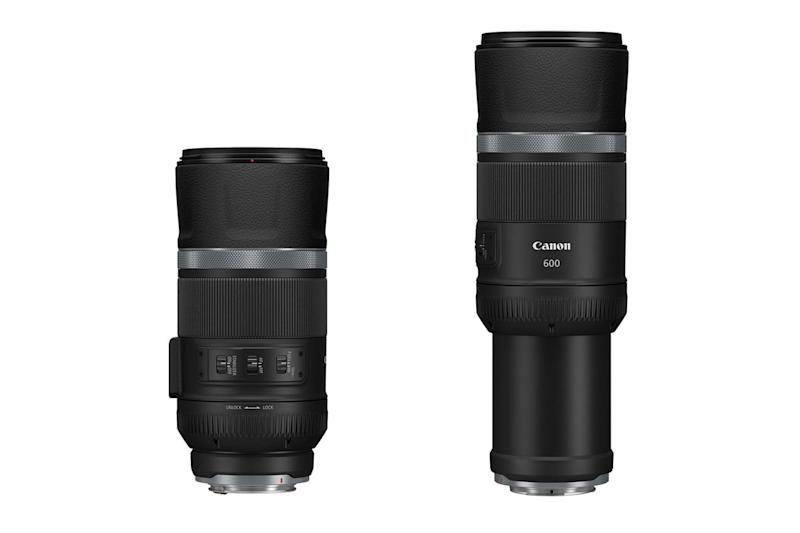 Canon RF 600mm f/11 retracted and extended on white background