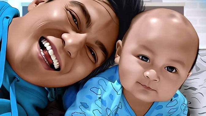 Potret Lukisan Unik Keluarga Baim Wong. (Sumber: Instagram.com/baimwong)