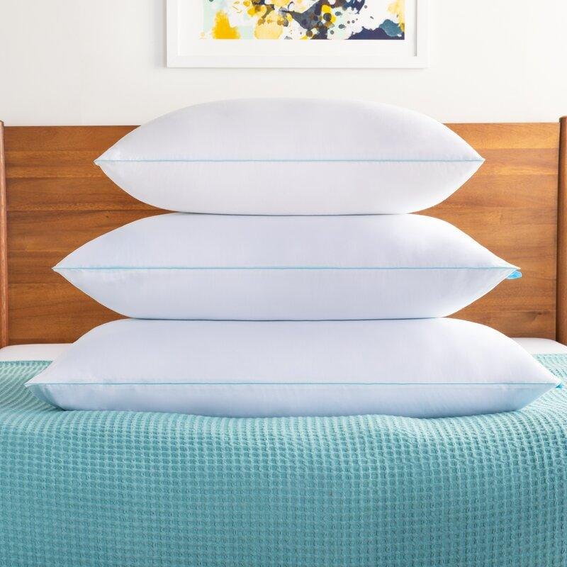 Stack of three Alwyn Home Gel Memory Foam Cooling Bed Pillows.
